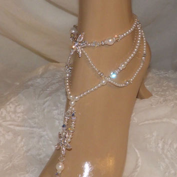 Pearl Beach Wedding Barefoot Sandals Wedding Jewelry Rhinestone Starfish Bridal Jewelry Barefoot Jewelry Destination wedding Beach Jewelry