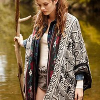 Ecote Graphic Blanket Poncho Cardigan- Black One