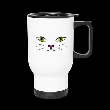 Green Cat Eye Insulated Travel Mug Tumbler With Lid And Handle 14oz