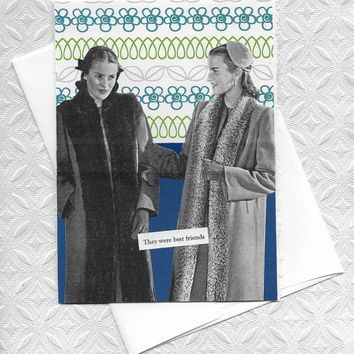 Blue & Green Blank Note Card for Best Friends Forever