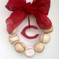 Cincinnati Reds Burlap Baseball Wreath
