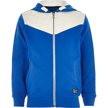 River Island Boys blue cobalt V yoke hoody