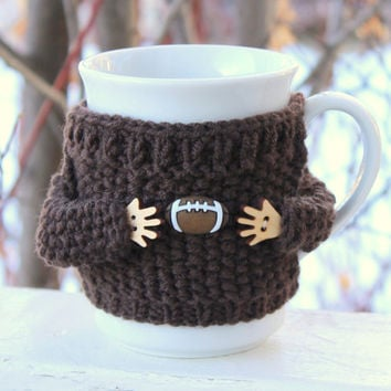 Coffee cup sweater. Baseball mug cozy Mug sweater Cup cozy Brown merino wool. Coffee cozy Father's day gift Office coffee Baseball fan gift