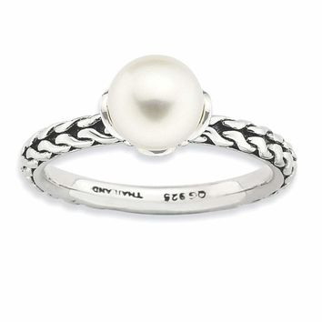 Sterling Silver Stack Exp. 7.0-7.5mm White FW Cultured Pearl Ring