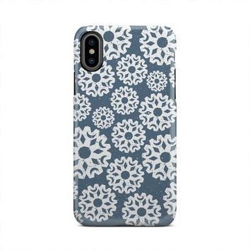 Blue Large Snowflakes Falling Winter iPhone X Case