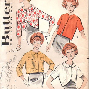 Butterick 50s Sewing Pattern 8939 Vintage Cropped Jacket Empire Bolero Bracelet Short Sleeve Casual Formal Cover-up Plus Size Bust 38