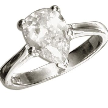 Sterling Silver Solitaire 2 Carat Pear Cut Cubic Zirconia Engagement Ring