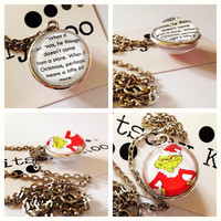 Grinch Christmas Quote. Double side glass pendant necklace.