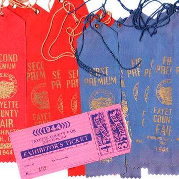 1944 Fayette County Ohio fair ribbons and ticket plus fair booklet