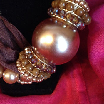 Brown Beaded Pearl  Asymmetrical Statement Necklace