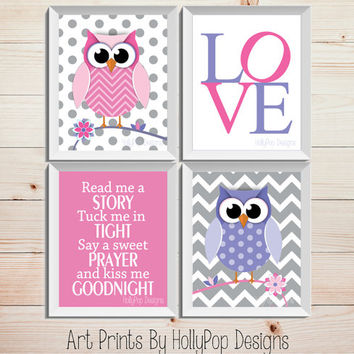 Woodland Owl Nursery Prints Nursery quad Decor Read Me A Story Nursery Quote Pink Purple Art Prints Baby Girl Nursery Cute Whimsical Art
