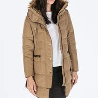 LONG DOWN ANORAK WITH FUR COLLAR