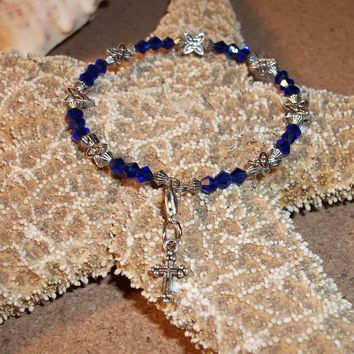 Cross Royal Blue Swarovski Bicone Crystal & Tibetan Silver Beaded Hand Crafted Charm Bangle Bracelet