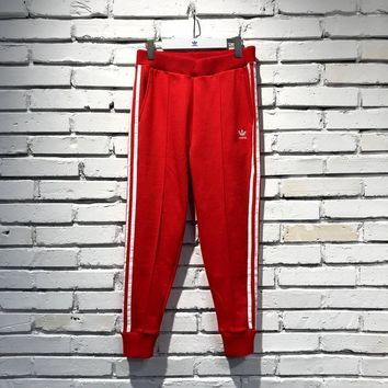 adidas Originals Women Red Three Stripe Track Pants |