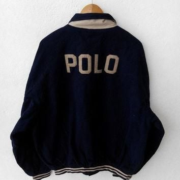 90's Vintage POLO Ralph Lauren Rl 93 P Wing Stadium Blue Bomber Jacket Hip Hop Size XL