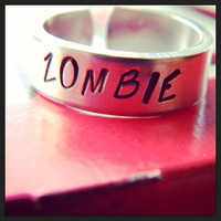 zombie  cuff ring  made from aluminum 1100, hand stamped