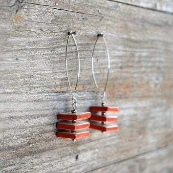Geometric jewelry - ceramic earrings with cube shape, orange and white