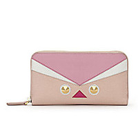 Fendi - Bird-Eye Saffiano Zip-Around Wallet - Saks Fifth Avenue Mobile