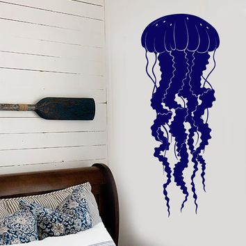 Vinyl Wall Decal Jellyfish Sea Ocean Animals Tentacles Stickers Unique Gift (2038ig)