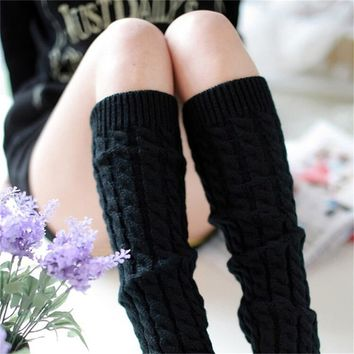 New Winter Leg Warmers for Women Fashion Gaiters Boot Cuffs Woman Thigh High Warm Knit Knitted Knee Socks Black Christmas Gifts