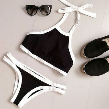 Retro Bow Print Bikini Set Sports Swimsuit Two Piece for Summer Gift