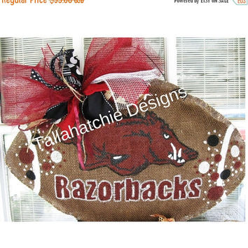 30% OFF Today Arkansas Razorbacks Burlap Football Door Hanger,