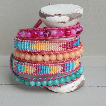 Colorful Tribal Chevron Pattern Teal Peach and Pink Loom and Ladder Wrap Bracelet With Jade and Agate Beads, Festival Bracelet