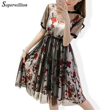 2018 Summer Elegant Chiffon Floral Dress Women Mesh Casual Plus Size Party Midi Dresses For Women Set vestidos #D76