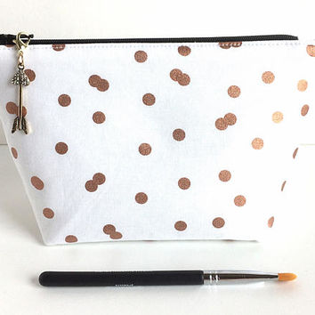Small Makeup Bag, Rose Gold Makeup Bag, White Cosmetic Bag, Bridal Bag, Bridal Shower Gift