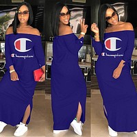 Champion Sexy Women Long Sleeve Off Shoulder Bodycon Dress Blue