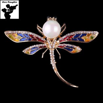 Big Large Pearl Rhinestone Dragonfly Brooches and Pins for Women Multicolor Scarf Suit Accessories Jewelry Gift 2017