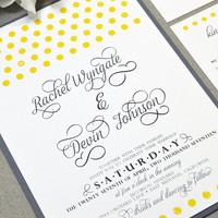 Gray and Yellow Wedding Invitation Suite - Polka Dot Wedding Invites - Calligraphy Wedding Invitations - Modern Wedding Pocket Invite Rustic