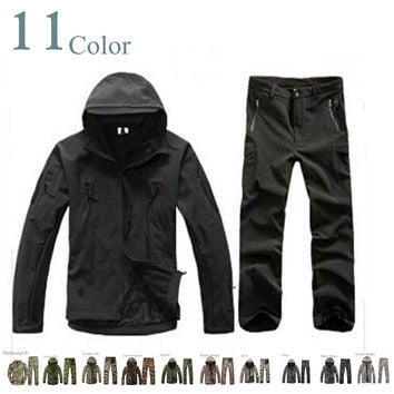 TAD 4.0 Shark Skin Soft Shell Lurkers Outdoors Tactical Gear Military Jacket+Pants Camouflage Hunting Uniform Suits