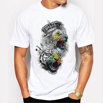 Fashion casual simple men 's T - shirt personality lion tiger pattern printed short - sleeved white T - shirt