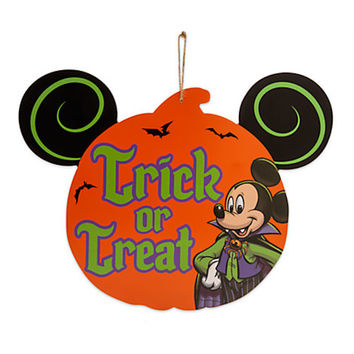 Disney Parks Mickey Mouse Vampire Halloween Wood Door Sign Trick or Treat New