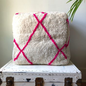 Pink and White Azilal Beni Ourien Vintage Rug Square Pouf