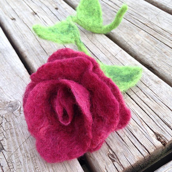 Felted Rose with Posable Stem, Spring Home Decor, Eco-Friendly: HANDMADE FIBER ART