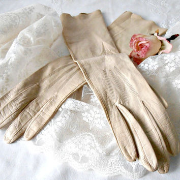 Vintage Kislav Gloves, Made in France, Size 6 Beige Gloves, Long Evening Opera Gloves, French Kid Leather, Washable Leather, Vintage Wedding