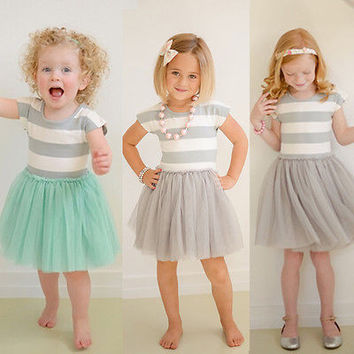 New 2016Striped baby Girls dress summer Toddler Kids Clothes Sleeveless girl Tutu Dress Party Dresses