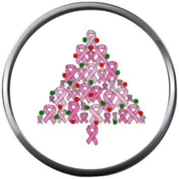Cheerful Christmas Tree Pink Ribbon Breast Cancer Holiday Support Awareness Hope Cure For Christmas Winter 18MM - 20MM Snap Jewelry Charm New Item