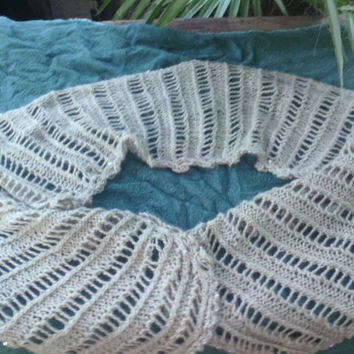 Long Lace Rib Scarf or stole with crochet chain and broomstick lace edging decorated with facet beads in 100% soft baby alpaca yarn.