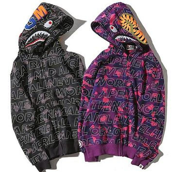 Bape Aape Shark Hoodies Zippers Hats Couple Casual Jacket