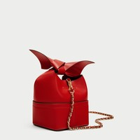 RED CROSSBODY BAG WITH BOW DETAILS