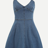 Blue V Neck Zip Back Denim Cami Dress