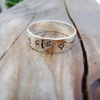 Big Sis heart sterling silver band ring personalized with hearts