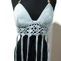Boho halter top with tassels and wood beads