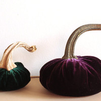 Handmade Velvet Pumpkins for Fall Decorating - Custom Fabric Color