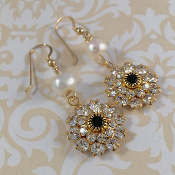 Swarovski Crystal Handmade Wedding Earrrings Gold, Bling Earrings, Gift for Mother of the Bride/Groom, Bridal Jewelry