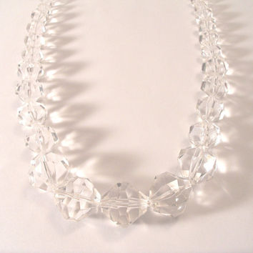 Vintage Bakelite Prystal 36 inch Necklace Big Graduated Sizes Clear Faceted Beads with Vintage Dior Silver Foil Gift Box