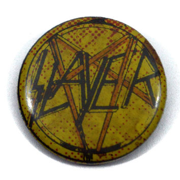 Vintage 80s Slayer Badge Pinback Button Pin